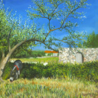 Donkey & Olive Tree Oil Painting